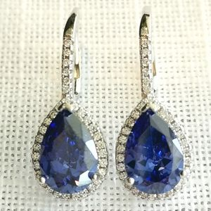 NWT sapphire CZ halo drop earrings in Sterling Silver lever back